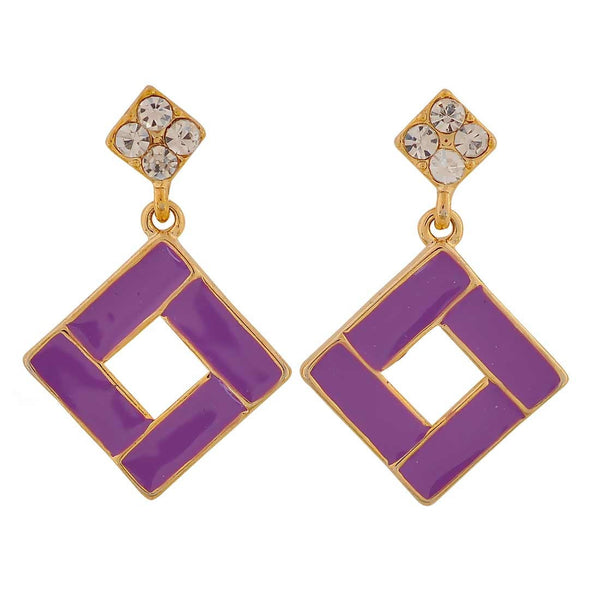 Darling Purple Stone Crystals Party Drop Earrings - MCHUJE26FB662