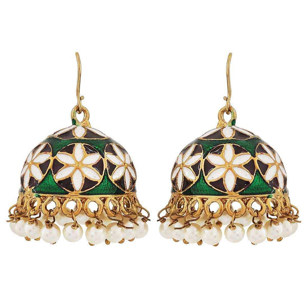 Plush Multicolour Meenakari Ceremony Jhumki Earrings - MCHUJE26FB679