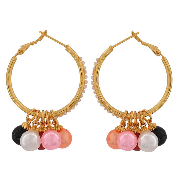 Adorable Multicolour Pearl Party Hoop Earrings - MCHUJE26FB687