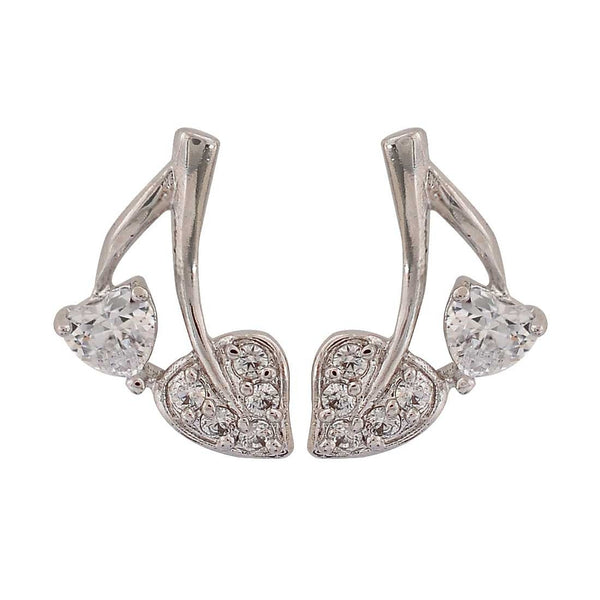 Unique Hearts Silver American Diamond College Stud Earrings - MCHUJE26FB735