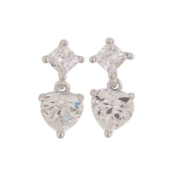 Fab Silver Stone Crystals Cocktail Stud Earrings - MCHUJE26FB737