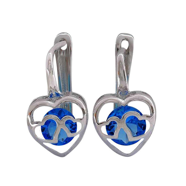 Double Hearts Blue Silver American Diamond Casualwear Clip On Earrings - MCHUJE26FB749