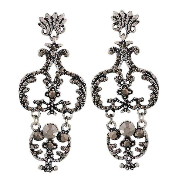 Grand Grey Silver Designer College Drop Earrings - MCHUJE26FB755