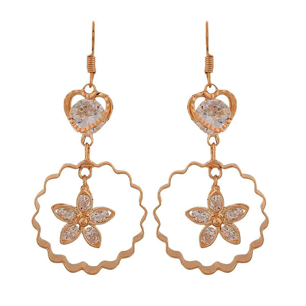 Cool Gold Stone Crystals College Dangler Earrings - MCHUJE26FB760