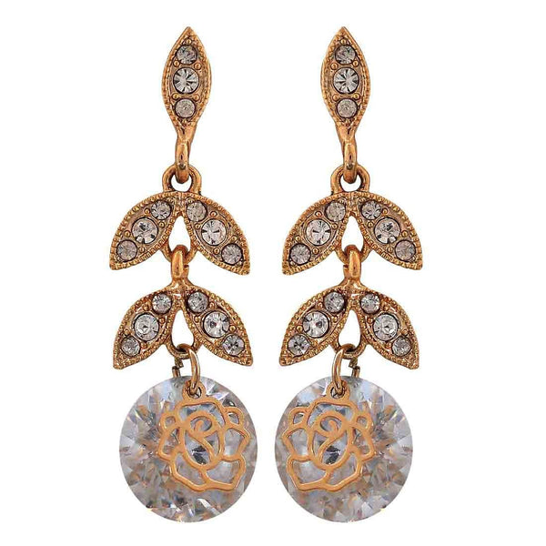 Unique Gold Stone Crystals Party Drop Earrings - MCHUJE26FB786