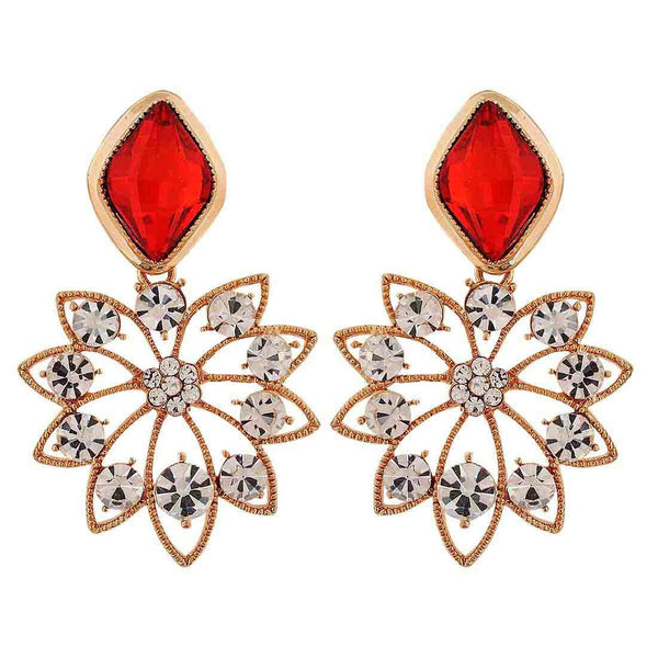Smashing Red Stone Crystals Party Drop Earrings - MCHUJE26FB791