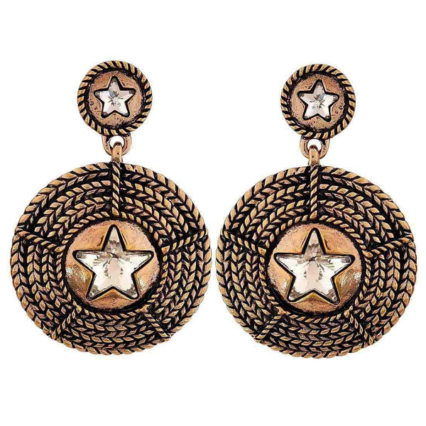 Smart Bronze Stone Crystals Party Drop Earrings - MCHUJE26FB796