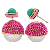Graceful Green Pink Pearl Get-together Drop Earrings - MCHUJE26FB803