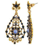 Artistic Blue Gold Designer College Drop Earrings - MCHUJE26FB805