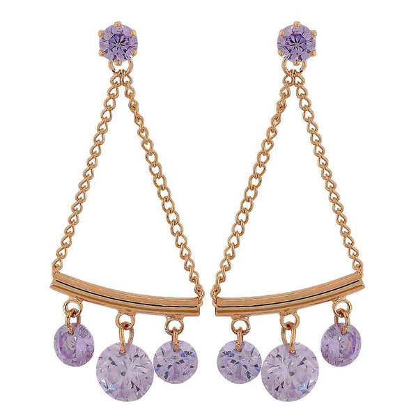 Beautiful Blue Gold Stone Crystals Cocktail Drop Earrings - MCHUJE26FB807