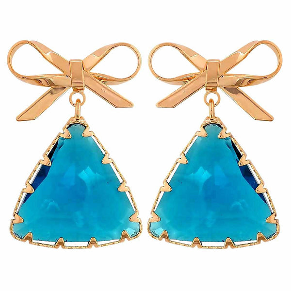 Grand Blue Gold Stone Crystals Get-together Drop Earrings - MCHUJE26FB808