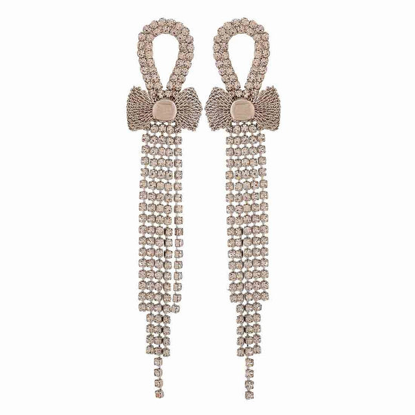 Sexy Silver Stone Crystals Get-together Tassel Earrings - MCHUJE26FB818