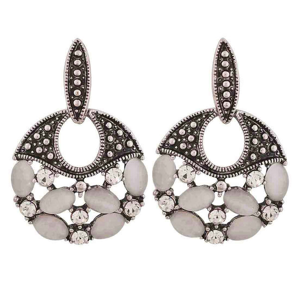 Superb Silver Stone Crystals Casualwear Drop Earrings - MCHUJE26FB819
