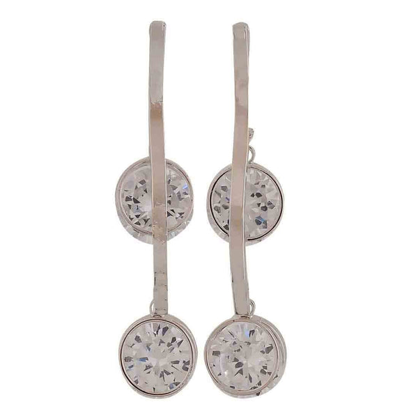 Sober Silver Stone Crystals Casualwear Drop Earrings - MCHUJE26FB829