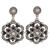 Sensual Black White Stone Crystals Casualwear Drop Earrings - MCHUJE26FB834