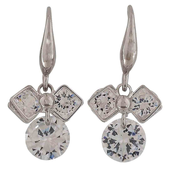Pretty Silver Stone Crystals Get-together Dangler Earrings - MCHUJE26FB848