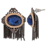 Classic Blue Silver Stone Crystals Party Drop Earrings - MCHUJE26FB851