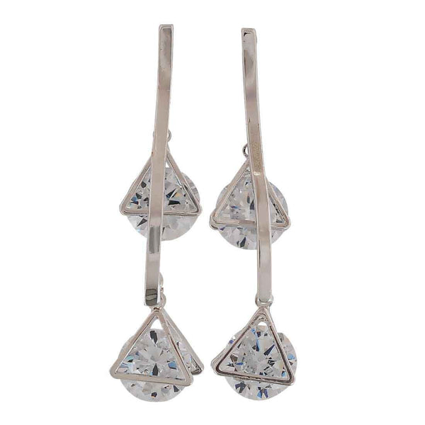 Classy Silver Stone Crystals Cocktail Drop Earrings - MCHUJE26FB867