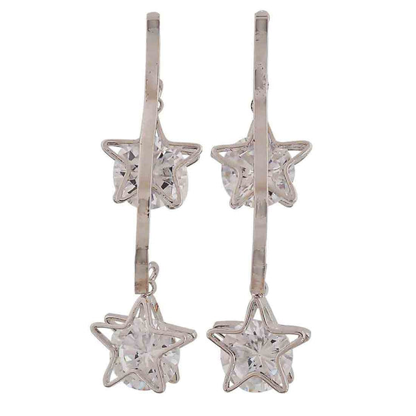 Dashing Silver Stone Crystals Casualwear Drop Earrings - MCHUJE26FB869