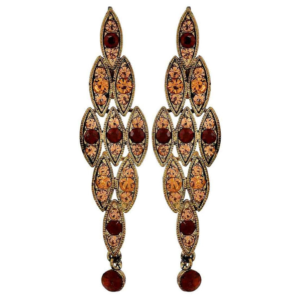 Chic Wine Gold Stone Crystals Casualwear Drop Earrings - MCHUJE26FB874