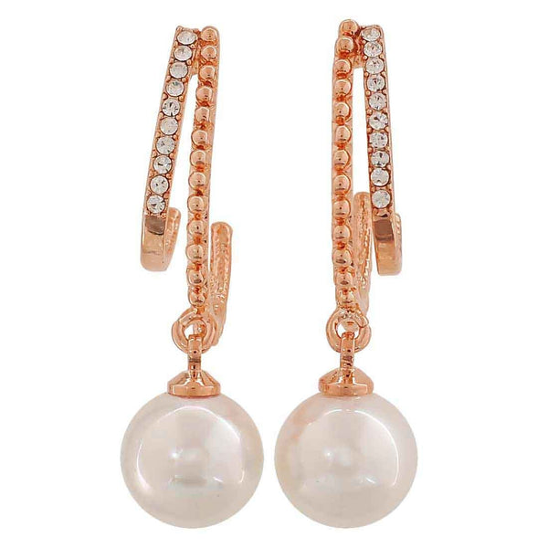 Adorable White Bronze Pearl Get-together Drop Earrings - MCHUJE26FB883