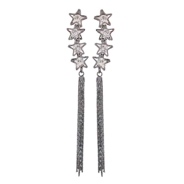 Pretty Grey Stone Crystals Party Tassel Earrings - MCHUJE26FB901