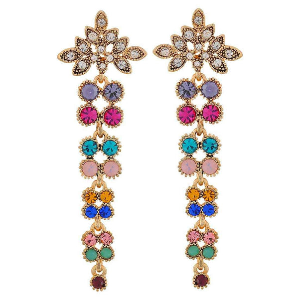 Stylish Multicolour Stone Crystals Party Drop Earrings - MCHUJE26FB906