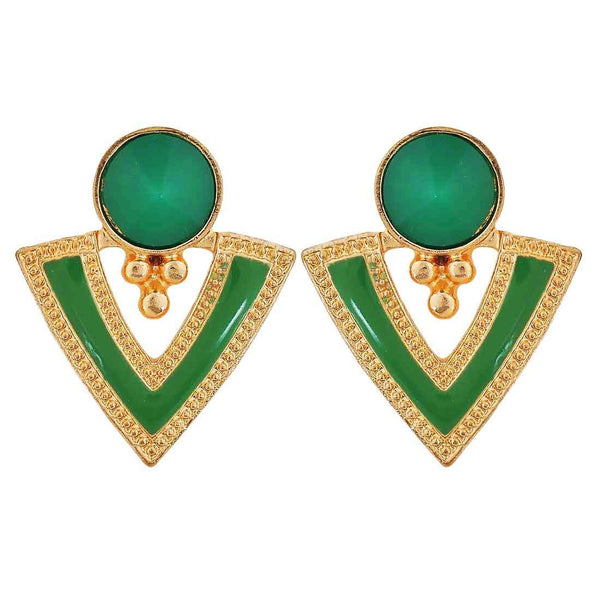 Posh Green Gold Designer Cocktail Drop Earrings - MCHUJE26FB917