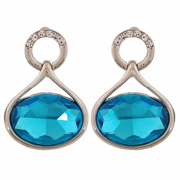 Simple Blue Silver Stone Crystals Casualwear Drop Earrings - MCHUJE26FB934