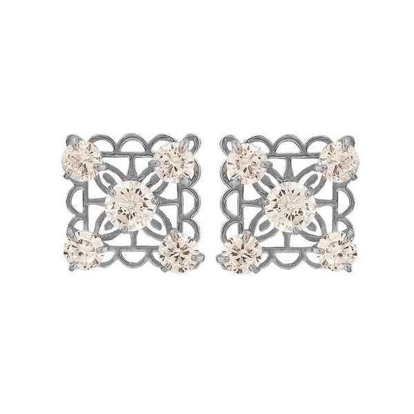 Darling Silver Stone Crystals Get-together Stud Earrings - MCHUJE26FB938