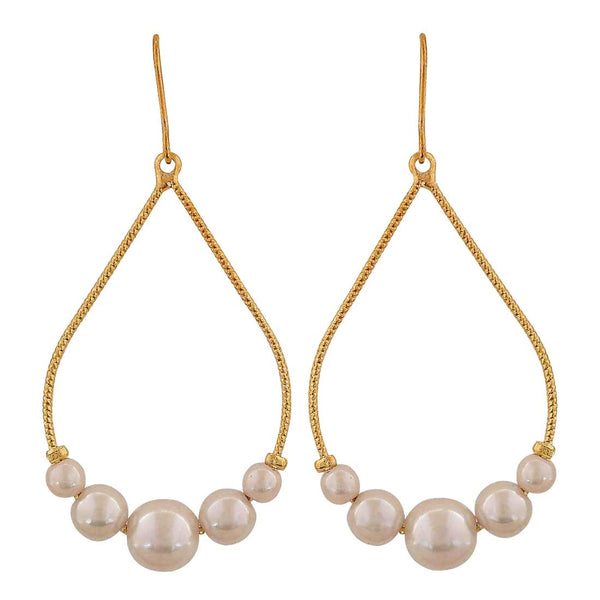 Terrific White Pearl Party Dangler Earrings - MCHUJE26FB946