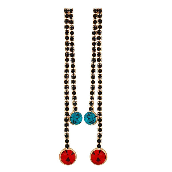 Pretty Red Green Stone Crystals Casualwear Drop Earrings - MCHUJE26FB954