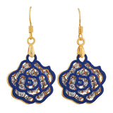 Classic Blue Gold Stone Crystals Cocktail Dangler Earrings - MCHUJE26FB957
