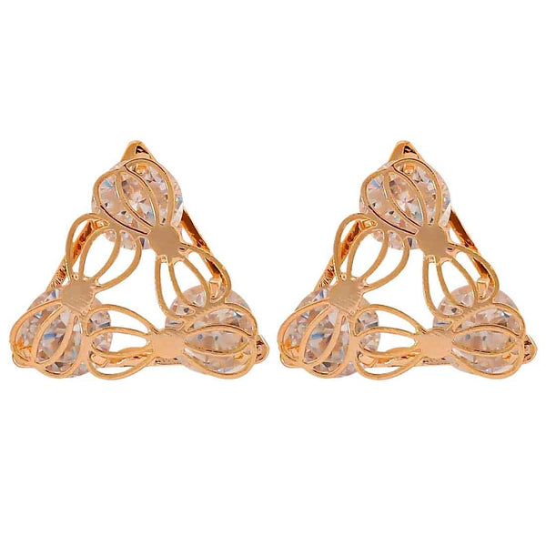 Stylish Gold Stone Crystals Casualwear Stud Earrings - MCHUJE26FB959