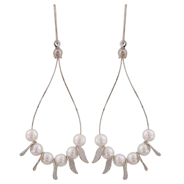 Cool White Silver Pearl Cocktail Dangler Earrings - MCHUJE26FB972