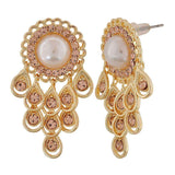 Class White Gold Pearl Cocktail Drop Earrings - MCHUJE26FB997