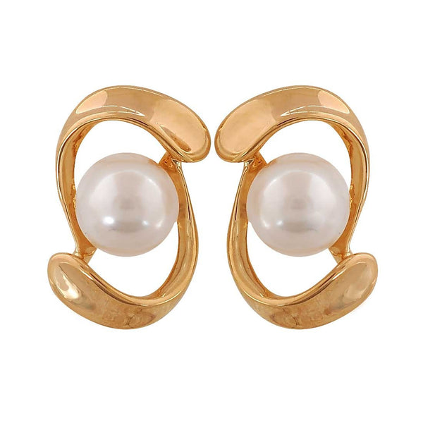 Unique White Gold Pearl Get-together Stud Earrings - MCHUJE26FB998