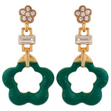 Pretty Green Gold Designer Cocktail Drop Earrings - MCHUJE26FB1007