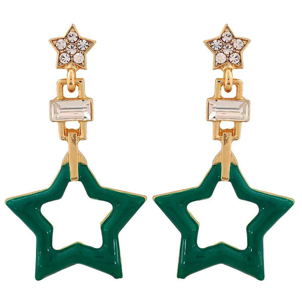 Smart Green Gold Designer Get-together Drop Earrings - MCHUJE26FB1008
