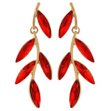 Classic Red Gold Stone Crystals College Drop Earrings - MCHUJE26FB1010