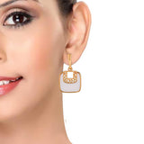 Lovable White Gold Designer College Drop Earrings - MCHUJE12JL37