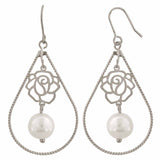 Smart White Silver Pearl College Dangler Earrings - MCHUJE12JL55