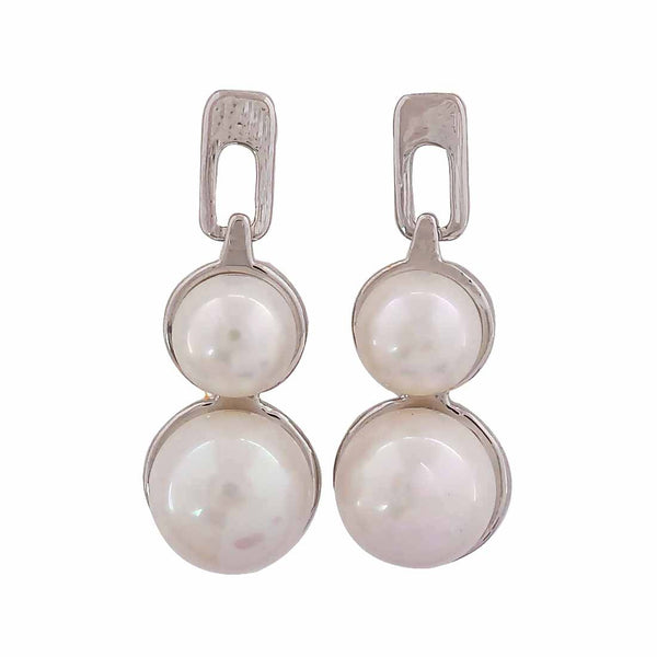 Lively White Pearl College Drop Earrings - MCHUJE12JL61