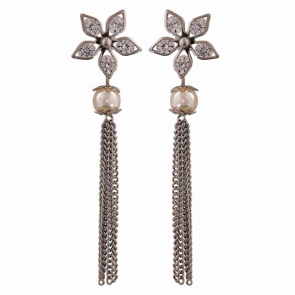 Graceful Silver White American Diamond Party Tassel Earrings - MCHUJE12JL62