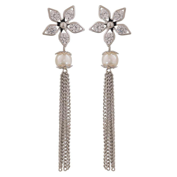 Great White Silver American Diamond Cocktail Tassel Earrings - MCHUJE12JL63