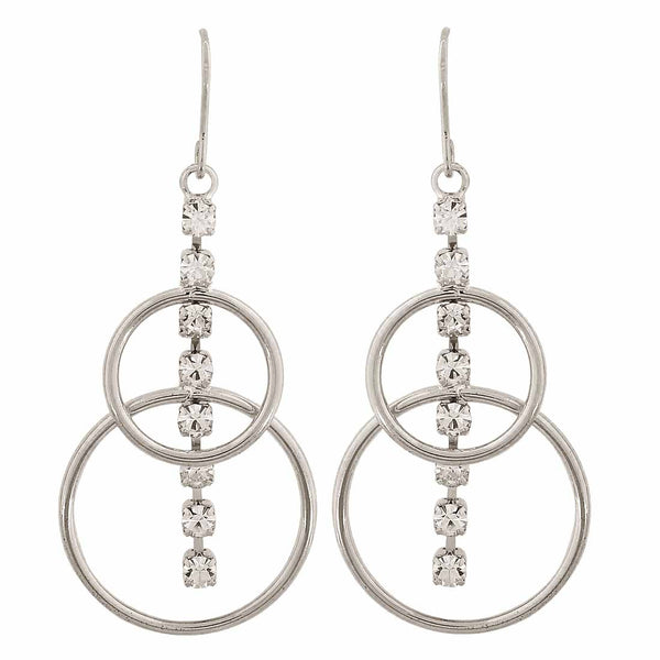 Grand Silver Stone Crystals College Dangler Earrings - MCHUJE12JL67