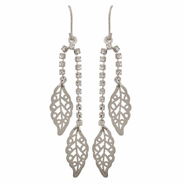 Trendy Silver Stone Crystals Cocktail Dangler Earrings - MCHUJE12JL69