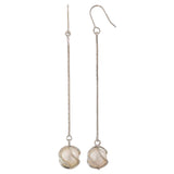 Posh White Silver Pearl College Dangler Earrings - MCHUJE12JL70