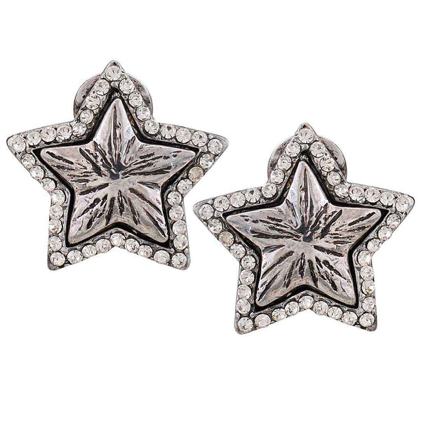 Lovable Silver Stone Crystals Cocktail Clip On Earrings - MCHUJE12JL90