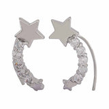 Gorgeous Silver American Diamond Party Cuff Earrings - MCHUJE12JL92